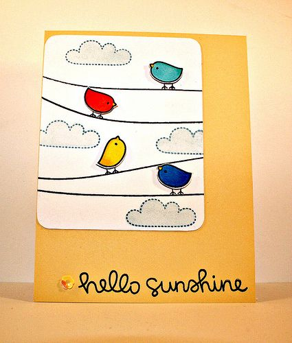 Lawn Fawn - Hello Sunshine _ love those colorful Hello Sunshine birds, cute card by Barb!  Flickr - Photo Sharing!
