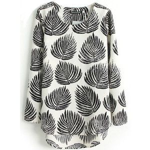 SheIn(sheinside) Black Long Sleeve Leaves Print Dipped Hem Blouse