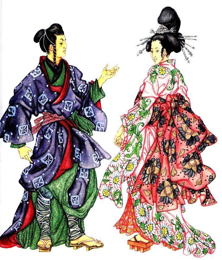 мужская и женская японская национальная одежда. на мужчине: двойное кимоно, штаны, подвязанные ремешками, обувь-гэта на женщине: кимоно с пышным оби, сложная причёска с декоративными шпильками