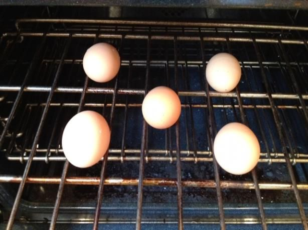 Alton Brown's Hard Cooked Eggs in the Oven {Baked Eggs} ~ I am forever grateful to Alton Brown for teaching me an easier way to make PERFECT hard-boiled eggs - don't boil them at all... BAKE THEM!  Alton says this provides a Creamer Egg than steaming or boiling.