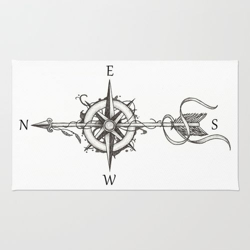 Compass with Arrow Rug by Beatrizxe