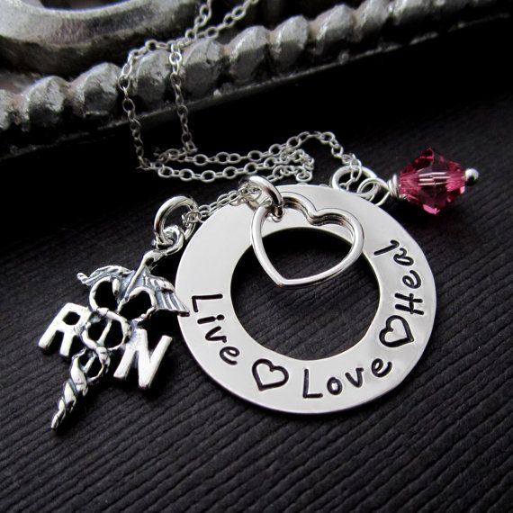 RN/ LPN Nurse Necklace, Registered Nurse Jewelry Necklaces, Hand Stamped Gift w/ Necklace in Sterling Silver, RN Charm Birthstone & Heart