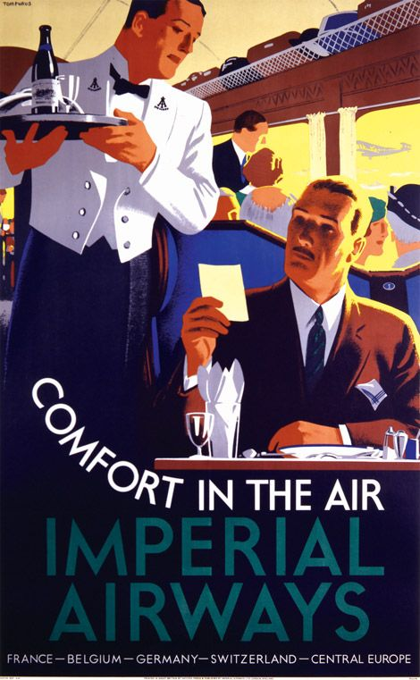Comfort in the Air, Designer: Tom Purvis Imperial Airways poster, c1931 The type placement gives movement to the design and makes it work better than if it had been set aligned.