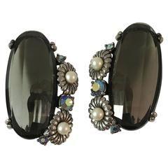 $385 1940s Schiaparelli Huge Grey Faceted Topaz Earrings