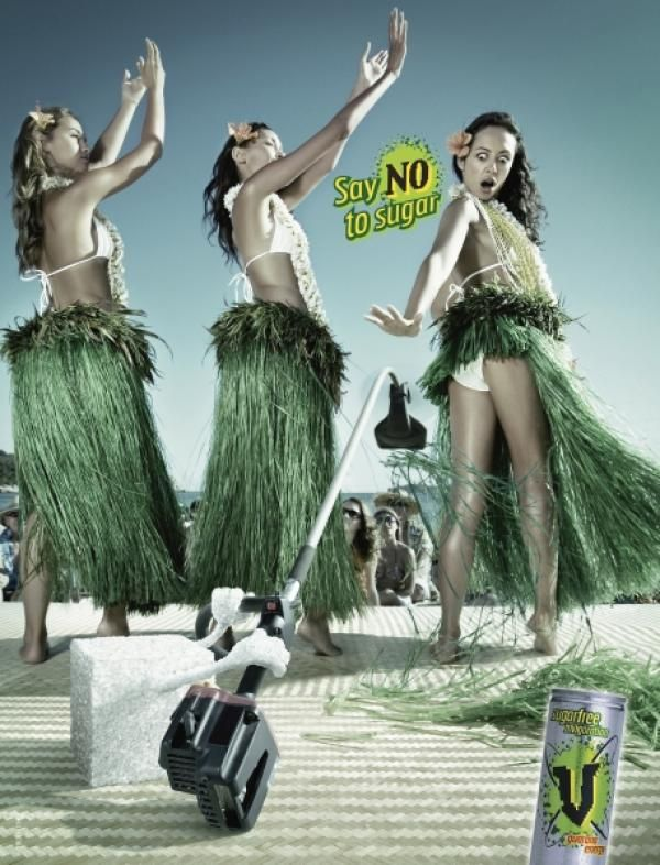 The Print Ad titled HULA GIRL was done by Clemenger BBDO Sydney Australia advertising agency for product: V Sugarfree Energy Drink (brand: V Energy Drink) in Australia. It was released in the Nov 2005.