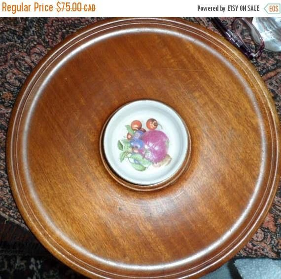 DISCOUNTED VINTAGE Wood Round Tray/Hand Made Turned Wood Bowl
