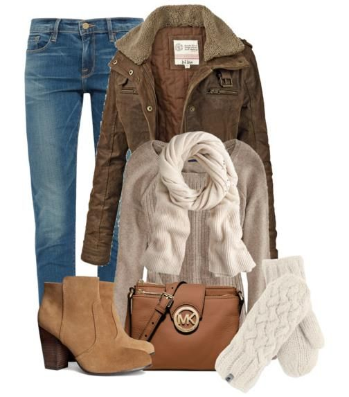 Winter Outfits With Coat, Scarf and Mittens