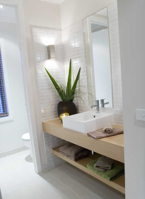 Toilet Divider Wall, Sink Area, White Small Tiles, Light Wood
