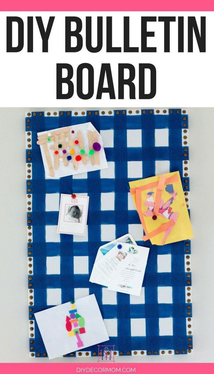 See the easiest way to make a DIY bulletin board! This DIY cork board is perfect for ideas and adding decor to your at home office and desks! This complete tutorial will take you step-by-step how to make a DIY Nailhead Bulleti Board that looks like one from Martha Stewart--perfect for your command center!