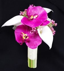 Specialty Calla Lilies with Fuchsia Orchids & Fillers Bouquet $25