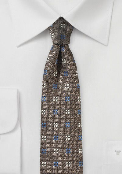 Textured Weave Tie in Tobacco-$10