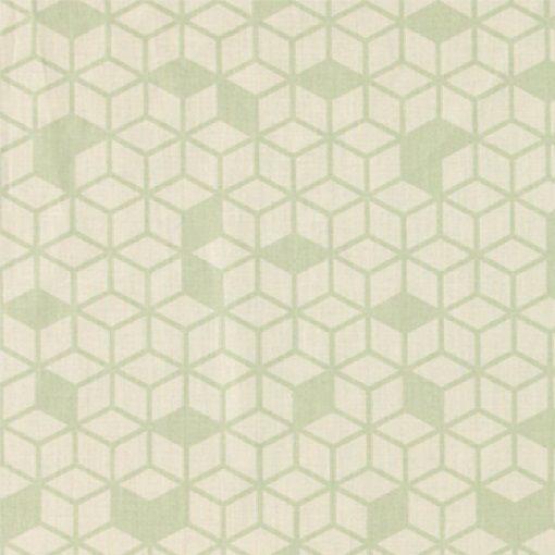 Bomuld sand m støvet grøn kube mønster
