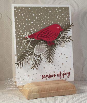 Debbie's Designs: Control Freaks November Blog Hop using Stampin' Up! Birds & Blooms, Christmas Pines and Pretty Pines Thinlits Dies. Debbie Henderson
