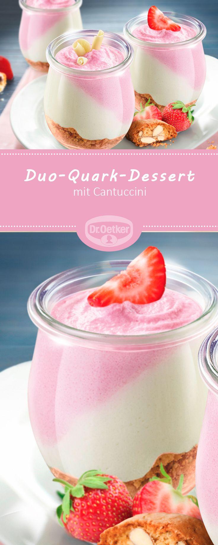 Duo-Quark-Dessert - Fruchtiges Dessert mit Cantuccini #dessert #rezept #strawberry