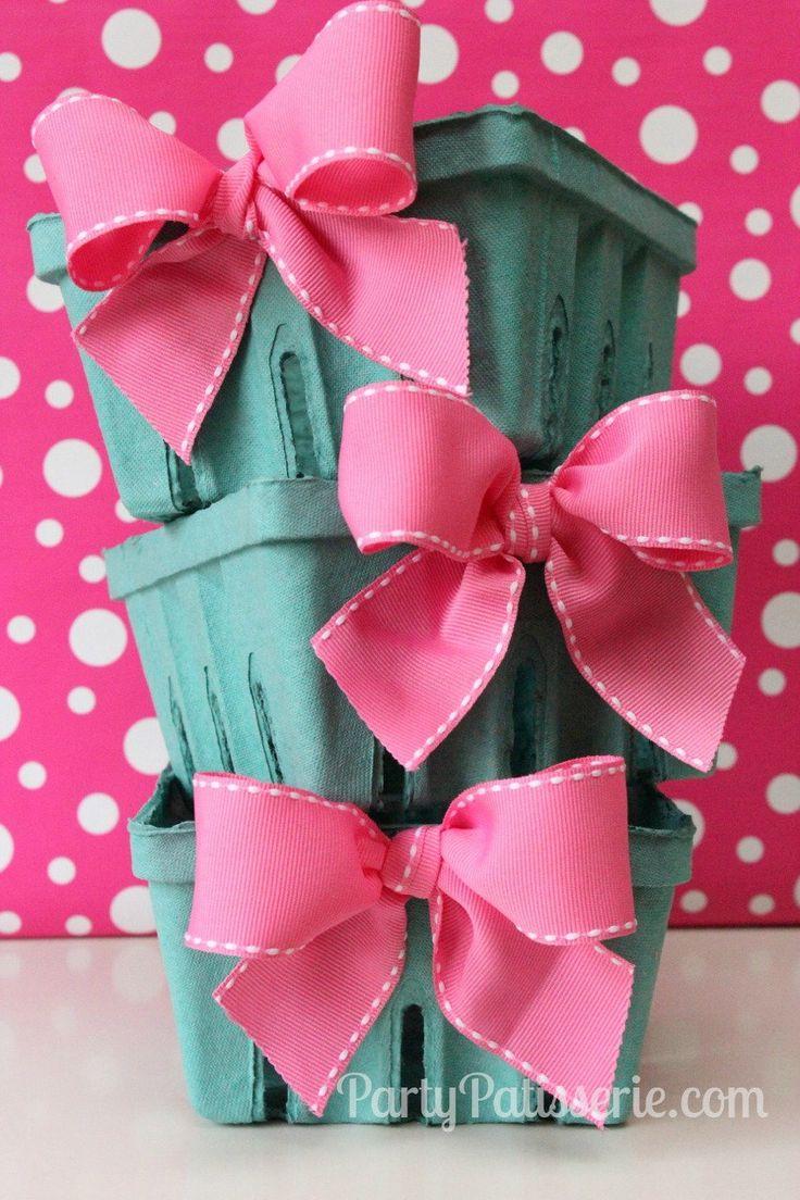 Pink Bow Berry Basket Set of 6 Berry Baskets. $10.00, via Etsy. Great Easter Basket idea!
