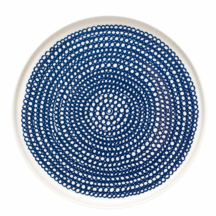 Siirtolapuutarha tallerken rund Ø 20 cm, Hvit/Blå - Maija Louekari - Marimekko - RoyalDesign.no