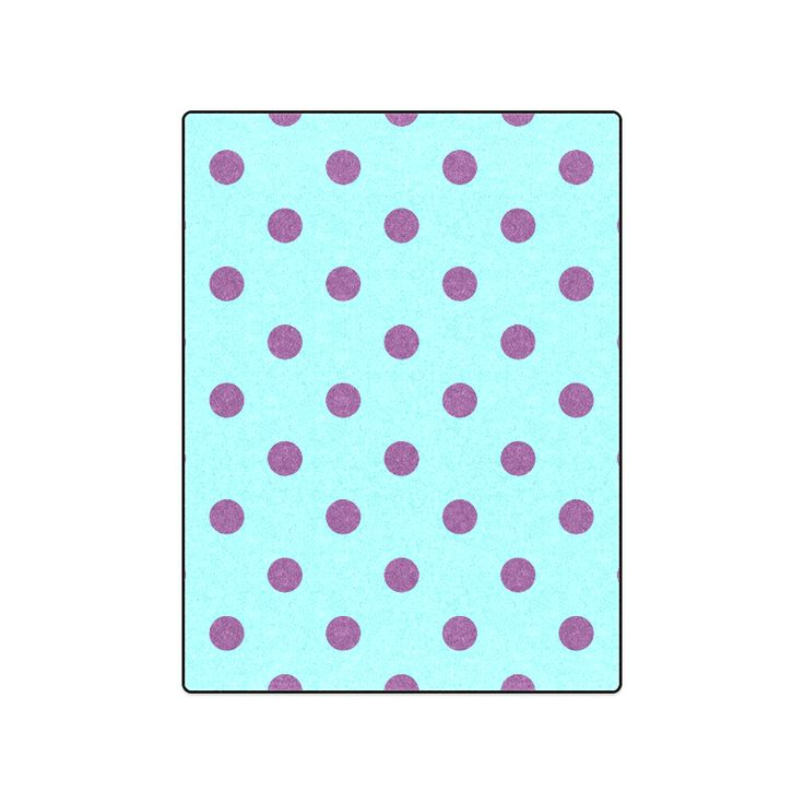 "Original vintage Blanket with purple and cyan Dots. New edition available in our Shop Blanket 50""x60""."