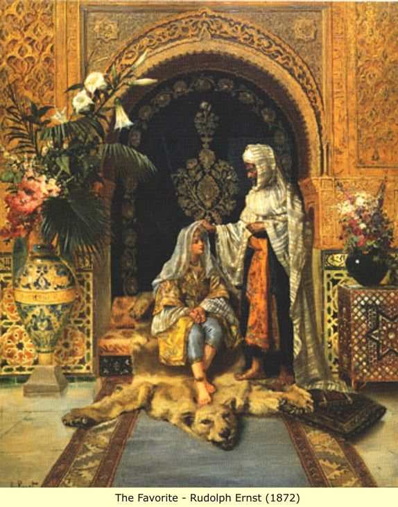 Rudolf Ernst, The Favourite, 1872 / Ottoman harem life. The Arabic word harem derives its original spelling and meaning from the Egyptian word harim, meaning 'women.' In Egypt, a harem was simply the place where women lived. Ernst (14 Feb 1854-1932), Austro-French painter, printmaker and ceramics painter best known for his orientalist motifs. He studied in Europe and made trips to Spain, Morocco, Egypt and Istanbul. From 1885, he devoted himself exclusively to paintings with orientialist…