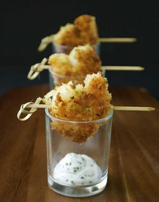 Panko Crusted Shrimp With Chive Aioli + Food presentation idea