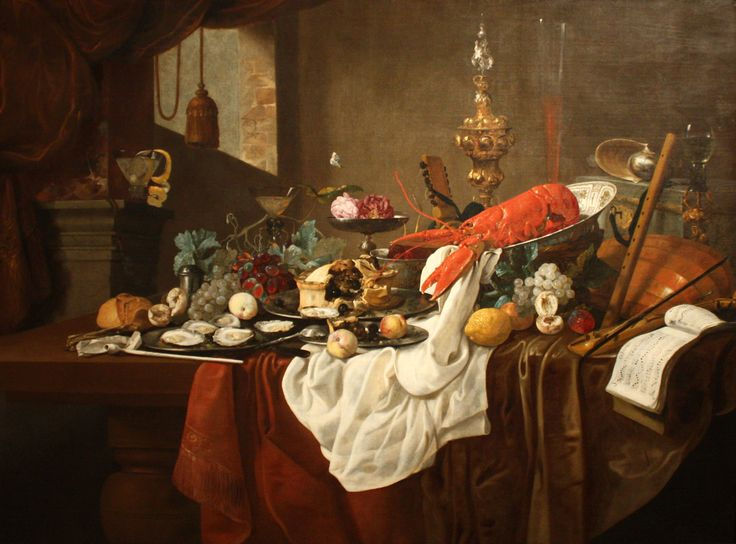 """""""Still Life"""" by Dutch artist Carstian Luyckx. c 1650, oil on canvas. In the collection of The Columbus (OH) Museum of Art."""