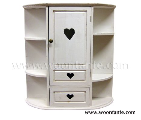 Shabby Chic Wooden Wall Cabinet Featuring One Door And One Drawer With A  Cut Out