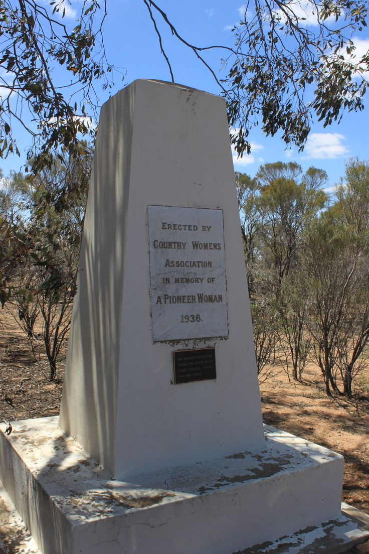 The C.W.A. monument on the Sea Lake Rd north of Birchip. Erected in 1936 by the Country Womens' Association to commemorate pioneer woman Mrs Ferguson and her infant daughter who were interred adjacent to the monument in 1872.