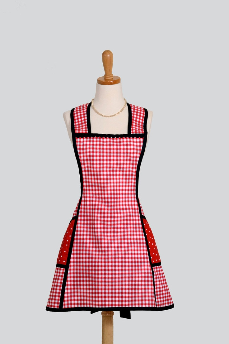 Vintage Apron | Vintage Inspired Apron : Sassy Short Retro Style Apron in Red Cotton ...