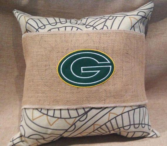 Green Bay Packers   Football  Handmade Burlap Pillow Wraps
