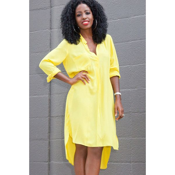 Yellow V Neck Long Sleeve High Low Dress ($20) ❤ liked on Polyvore featuring dresses, yellow, hi low dress, yellow dress, yellow long sleeve dress, chiffon dress and v neck chiffon dress