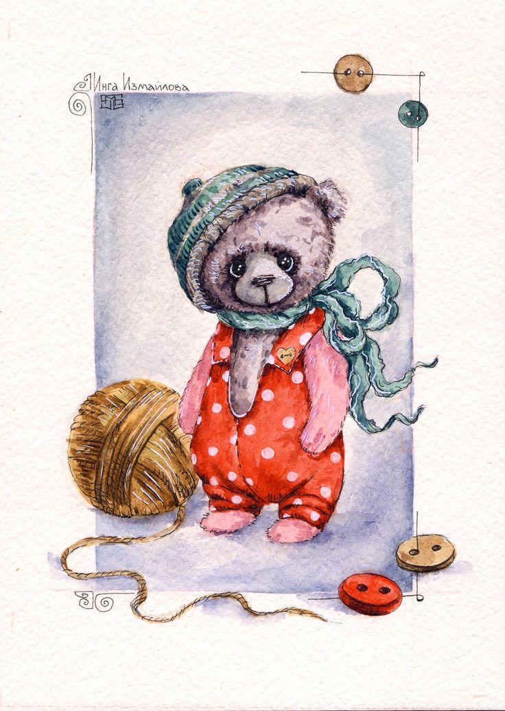 по мотивам работ Нелли Свительской bears dolls toys watercolor postcards открытки куклы мишки тедди акварель