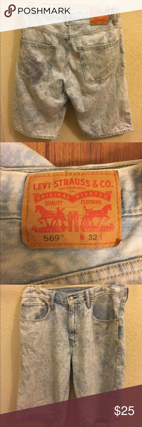 """Levis 569 Loose Stonewash Light Denim Jean Shorts Item Details: • Used: In great condition, no flaws. • Size: 32W (23"""" Long) • Color: Light Blue  Shipping & Handling: • Item will ship same or next business day after completed payment is received. This excludes weekends.  Note: This item is extremely rare to find in this size and condition. Everything is 100% authentic guaranteed or your money will be refunded in full payment.  Feel free to ask me any questions. Levi's Shorts Jean Shorts"""