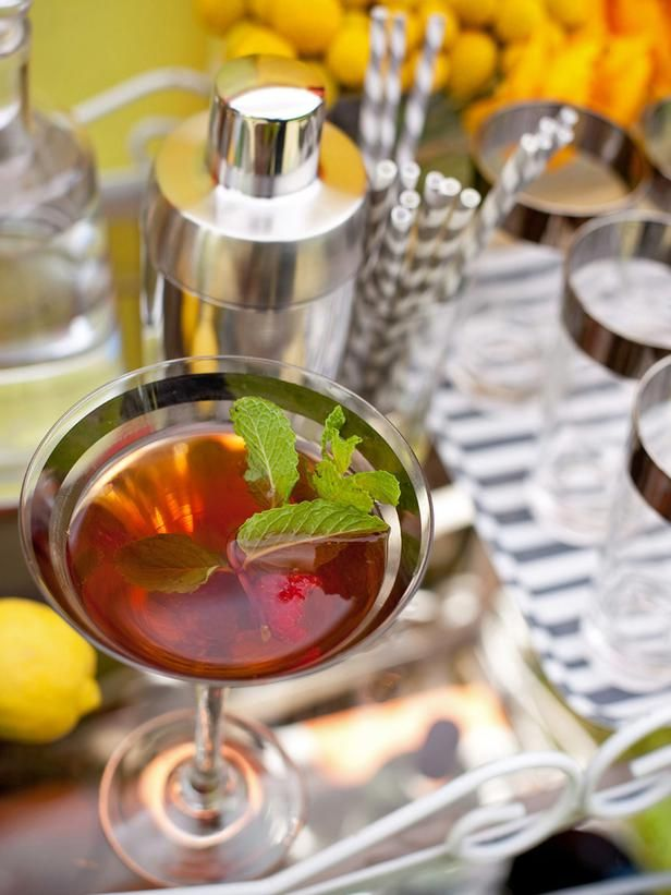 DIY Weddings: Drink Menus and Cocktail Recipes: For a specialty cocktail that screams summertime, serve a refreshing brew of homemade sweet tea mixed with raspberry vodka. Strain into retro glassware and garnish with fresh mint and raspberries for an irresistible combination. From DIYnetwork.com