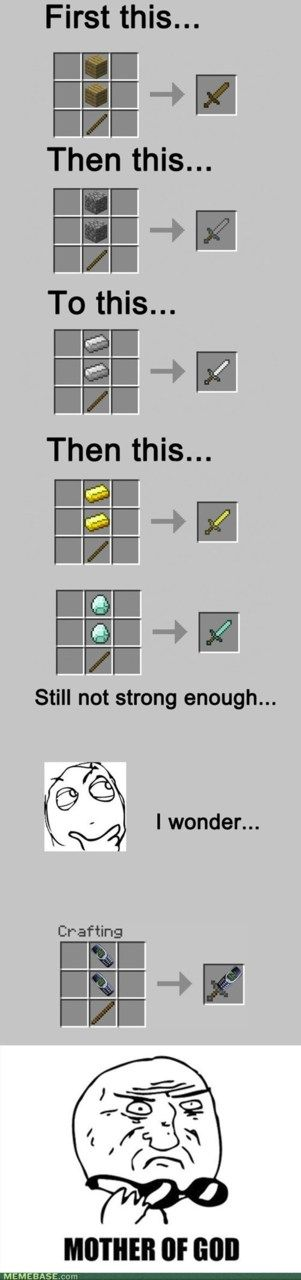 I don't know why anyone would want a butter sword, but this is still cool. #minecraftcomic