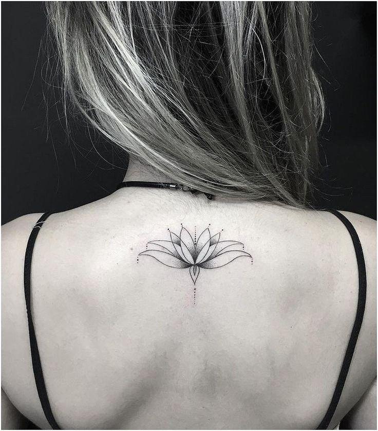 #WomensTattoo #WomensTattooIdeas Water Lily Lotus Upper Back Tattoo Ideas for Women – Simple Minimalistic Black Henna Tat – MyBodiArt.com click for mo…