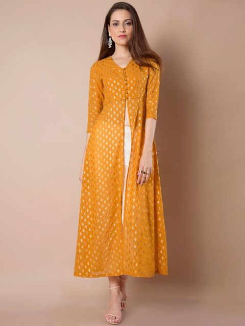 b46d43f96 Buy INDYA Women Mustard Yellow Printed A Line Kurta - Kurtas for Women  1898039
