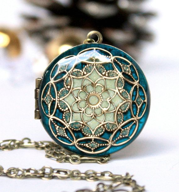 Wedding Jewelry Bridal Necklace Blue Locket Brass Locket Gift For the Bride Photo Locket Womens Locket Necklace Bridal Jewelry      NEW THIS