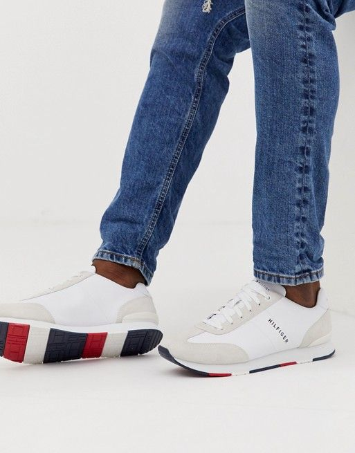 b0877449896 Tommy Hilfiger leather material mix logo sneaker in white | asos men ...