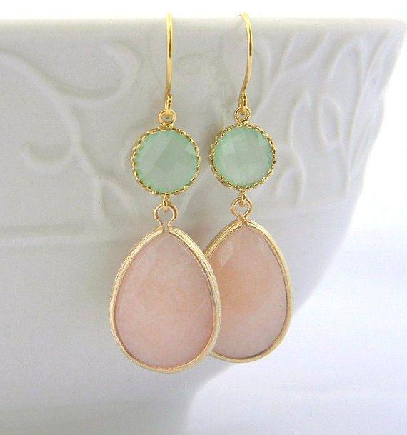 Peach and Mint Earrings Trimmed in Gold-Drop by Greenperidot