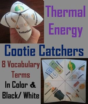 Thermal Energy: Conduction, Convection, and Radiation Cootie Catchers/ Fortune Tellers: These cootie catchers are a great way for students to have fun while learning about Thermal Energy. These cootie catchers contain the following vocabulary terms:   ♦ Conduction, Convection, Radiation, Heat, Energy, Temperature, Insulator, Absolute zero