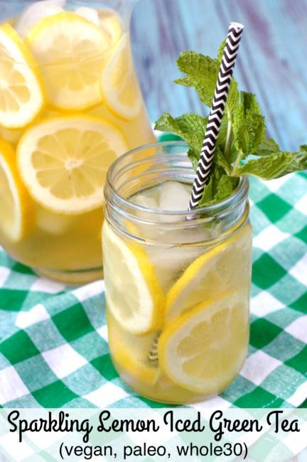 Sparkling Lemon Iced Green Tea combines La Croix Lemon Sparkling water with sliced lemon, fresh mint and brew green tea for a refreshing Paleo, Whole30 and Vegan summer drink.