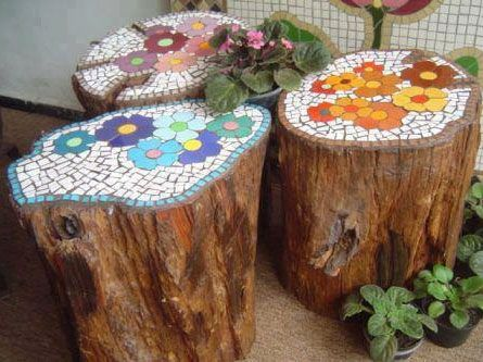 mosiac-tree-trunks hmmmm would be good for all that vintage chipped china I have! www.greenlionmarketplace.com