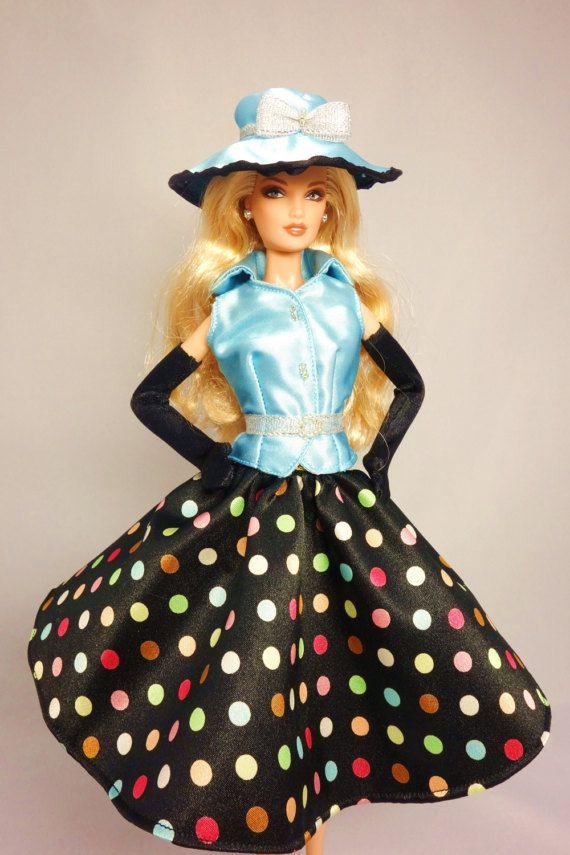 Mai Barbie doll dress Sky blue sleeveless satin shirt by MaiBarbie