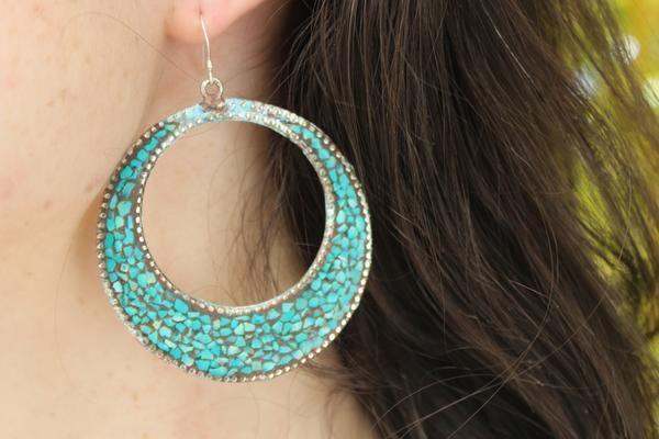 Handmade bohemian turquoise earrings $19.95 USD     #tribalearrings #gypsyjewelry #hippiejewelry #bohoearrings