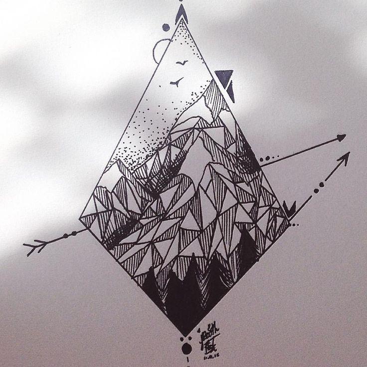 Simple Geometric Mountains Tattoo Design