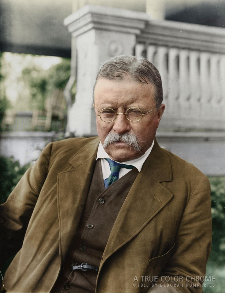 Colorized by me:. Theodore Roosevelt c. 1916 at his home Sagamore Hill Oyster Bay NY