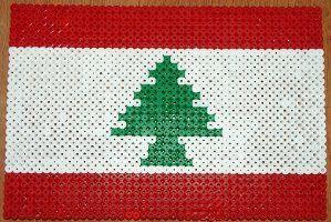 lebanon flag made with polar beads | Hama Bead Activities for World Thinking Day (International crafts)