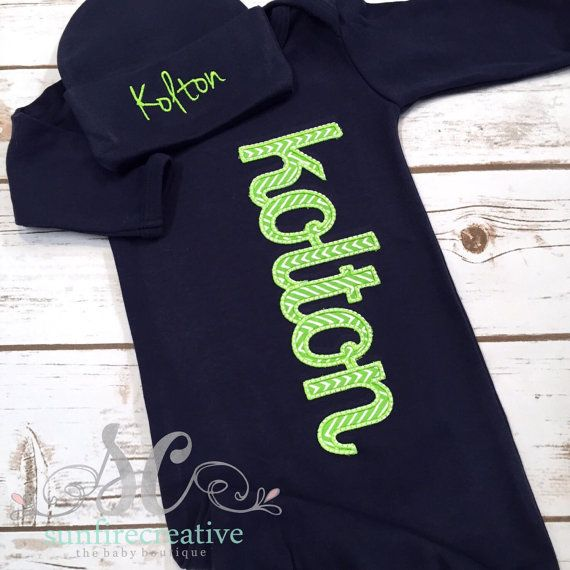 Baby Boy Coming Home Outfit - Newborn Outfit - Boy Take Home Outfit - Lime Green Chevron Navy Boy Sleeper - Baby Boy Bodysuit - Baby Shower