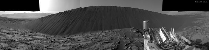 Mars' Namib Dune is a dark sand mound that stands about 4 meters tall and, along with the other Bagnold Dunes, is located on the northwestern flank of Mount Sharp. Wind is causing the dune to advance about one meter a year across the light bedrock underneath. NASA Astronomy Picture of the Day: January 19,2016