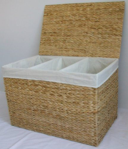 Triple Launtry Basket Storter Storage Hamper With 3 Three Compartments  Natural Color: Amazon.co