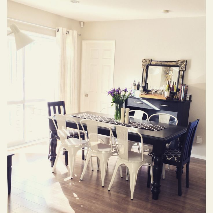 My dining space- I mixed the dining chairs and upcycled the dining table and 2 chairs.